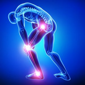 Anatomy of male joint pain in blue